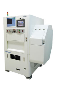 Ein 355-nm-Laser erzeugt im Nutzen eine Bruchstelle, z. B. bei der LED-Herstellung.